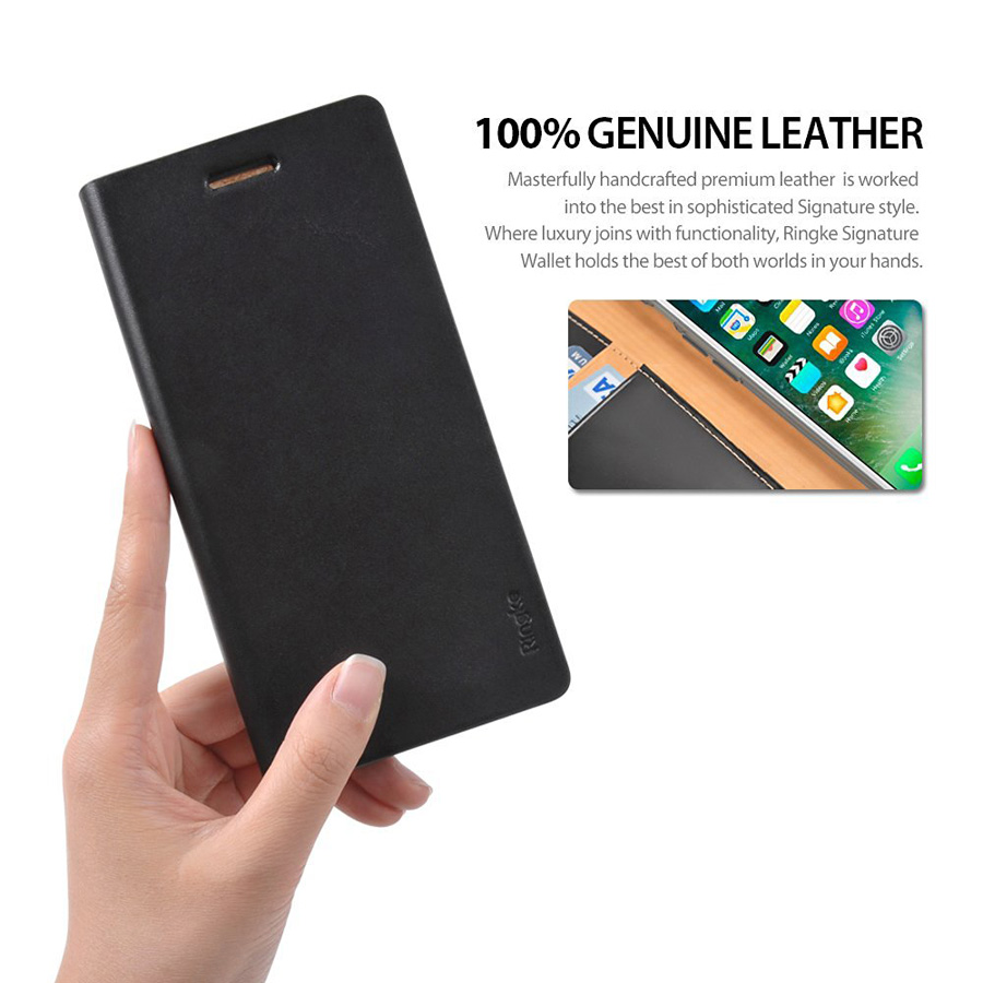 Shop Genuine Rearth Ringke Signature Leather Wallet Case For Iphone 7 Edge Black Your And Plus The Even Has Special Cut Outs Camera So You Never Have To Miss An Opportunity Take Memorable Pictures